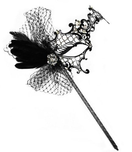 Colette Deluxe Laser-Cut Black Venetian Masquerade Mask on a Stick for Women Success Creations USA http://www.amazon.com/dp/B00EFJ1T8O/ref=cm_sw_r_pi_dp_Pr8Jtb0MGEF31YPR