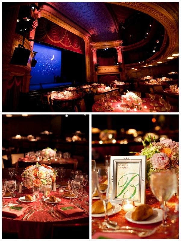Theater/stage reception - I love the idea of the projection on the stage. Could even do a cute slideshow!