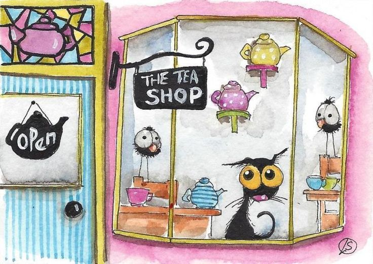 ACEO Original watercolor art painting whimsical black cat store front tea shop #IllustrationArt