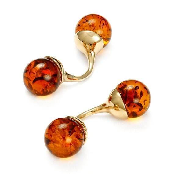 NEW 925 Sterling Silver Baltic Cognac Amber Balls Drop Earrings
