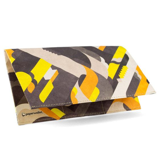 Paper-Thin Clutch Unisex for Men & Women - Yellow Design by PianoFuzz - Made in Tyvek - Eco-friendly and 100% Recyclable