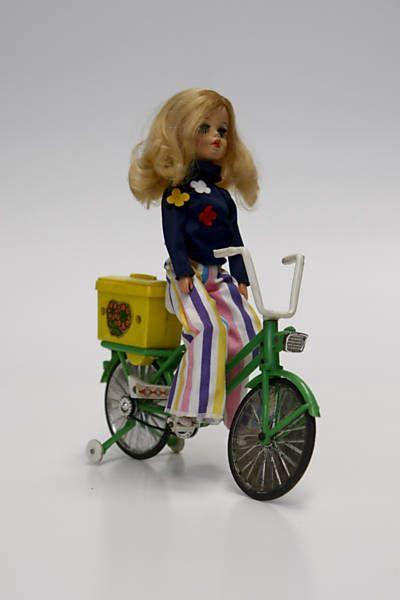 Eu tive essa bicicletinha pra bonecas, só não tinha o bagageiro... ou eu o destruí, sei lá.
