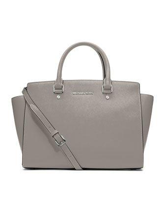 MICHAEL Michael Kors  Large Selma Top-Zip Satchel in pearl grey! So timeless! It's the perfect spring bag!