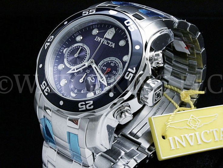 Invicta Men Pro Diver Scuba Blue Dial Swiss Made Chrono S.S Bracelet Watch NEW