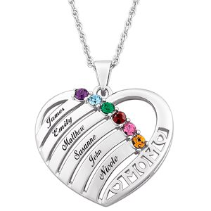 Birthstone Heart Mother's Necklace. Sale price: $99.00