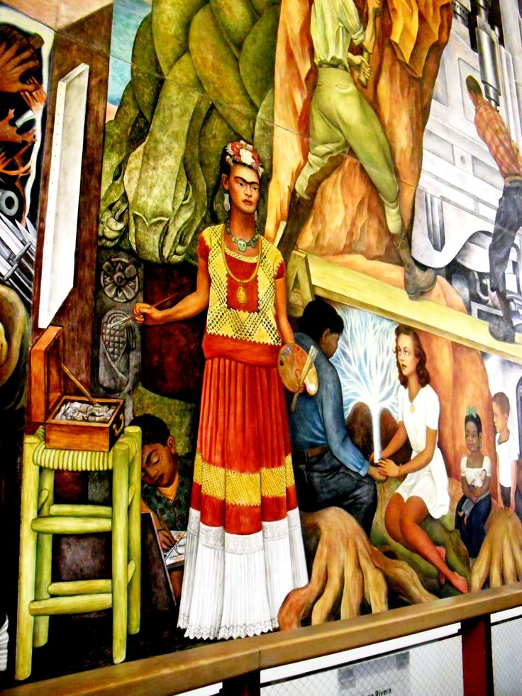 Frida Kahlo in a mural painted by Diego Rivera, San Francisco City College.