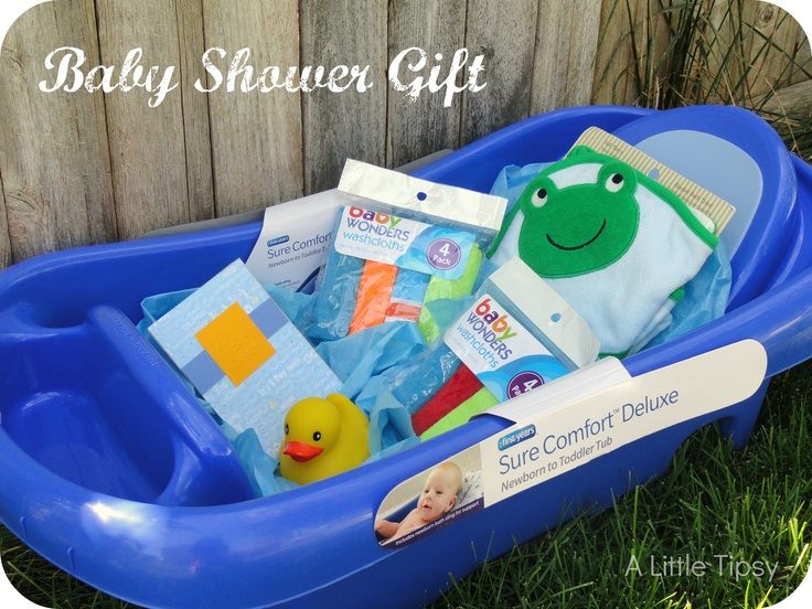Baby Bath Gift fill with tissue paper as water #baby #bath #gift