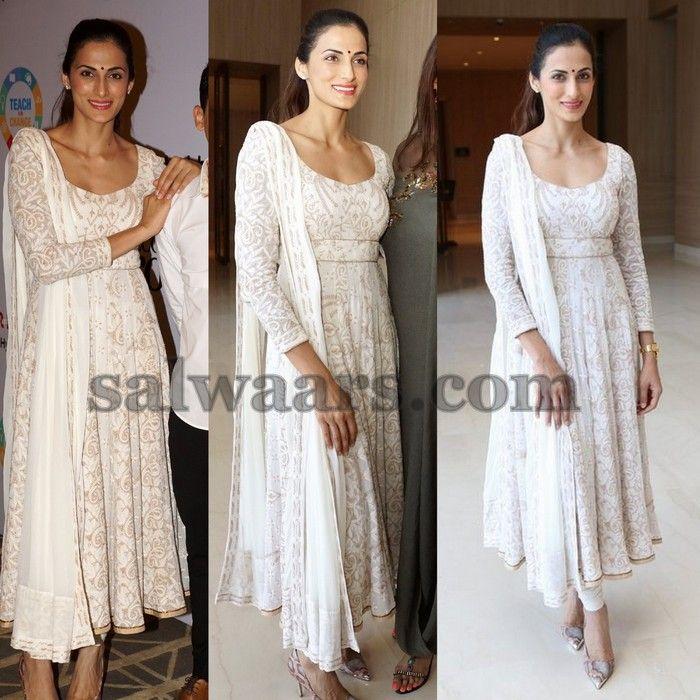 Shilpa Reddy Printed White Kameez - Indian Dresses