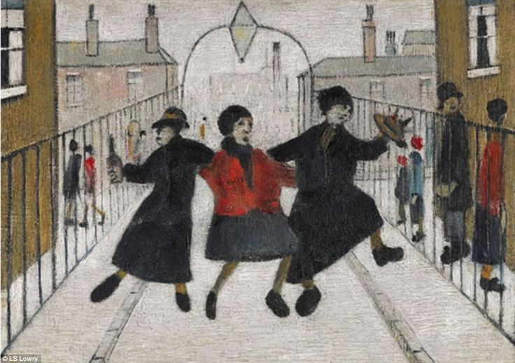 Home From The Pub: The LS Lowry oil on canvas from 1944 is estimated to sell for between £400,000 and £600,000 at Sotheby's in London next month at their Modern and Post-War British evening sale