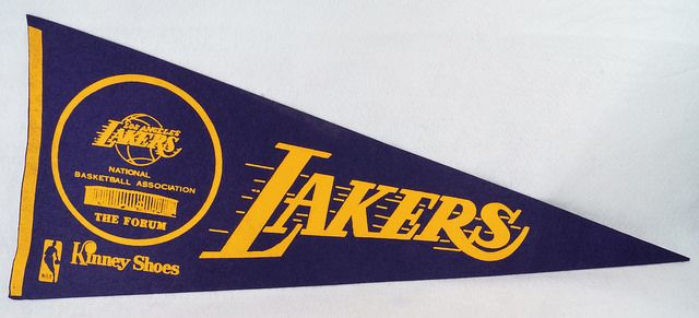 Vintage 1970's NBA Los Angeles Lakers at the Forum Pennant Kinney Shoes  eBay Link: http://www.ebay.com/itm/Vintage-1970s-NBA-Los-Angeles-Lakers-at-the-Forum-Pennant-Kinney-Shoes-/302038395779  RD13436  Go back to Tin Can Alley - FOR SALE: http://www.bagtheweb.com/b/PBdAfQ