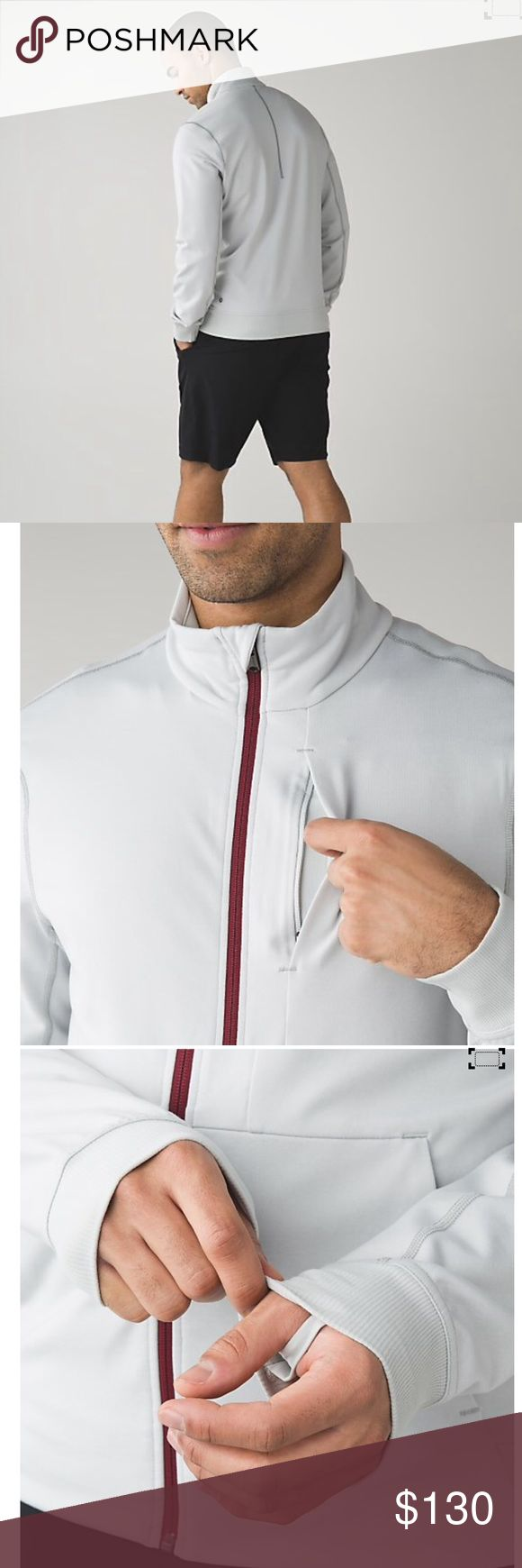 NWT Lululemon Men's PrePost Jacket We designed this versatile, sweat-wicking jacket to give you storage options when you're on the move.  Size L ~ Coulour:  Heathered Silver Spoon lululemon athletica Jackets & Coats Performance Jackets