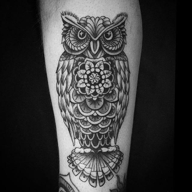 mandala owl tattoo
