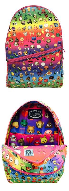 Rainbow emoji backpacks for kids. LOVE!