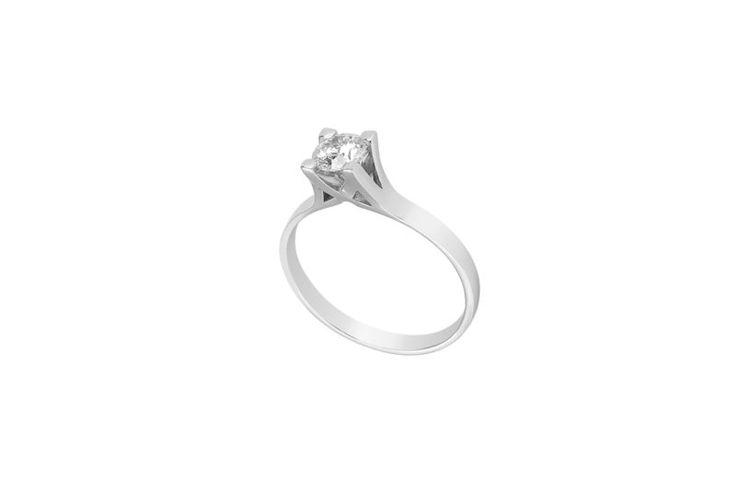 Μονόπετρο δαχτυλίδι Al'oro  Κ18 λευκόχρυσο διαμάντι ZL913