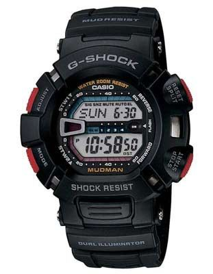 Casio G-Shock Mudman - Black with Red Accents - Low Temperature Resistant