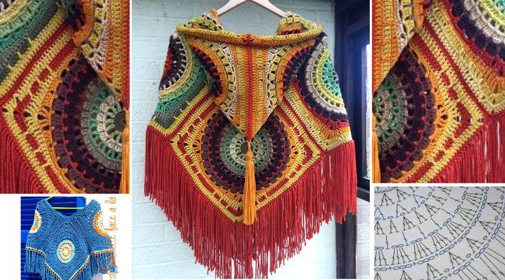 Cómo tejer un poncho de rectángulos a crochet