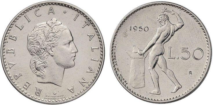 NumisBids: Nomisma Spa Auction 50, Lot 494 : Repubblica italiana (1946-) 50 Lire 1950 Prova in acmonital – P.P....