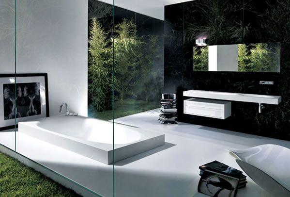 minimalistisches Bad Design - schwarz-weiß