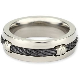 edward mirell mens grey titanium barrel ring with black memory cable size 9 - Titanium Wedding Rings For Men