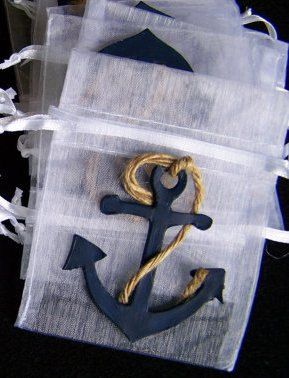 Anchor  baby shower theme Favor bags 4 pieces by FavorsByGirlybows, $6.00