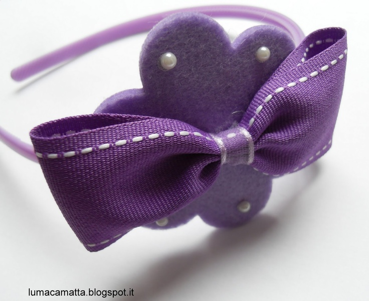 Cerchietti per capelli: fiore lilla, fiocco e mezze perle