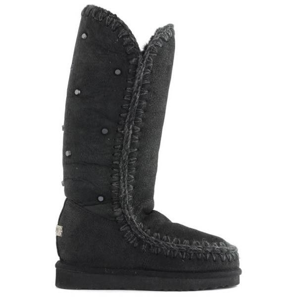 Mou Eskimo Inner Wedge 40 Embossed Boots Black - MOU #mou #fashion #newshoes #women #streetstyle