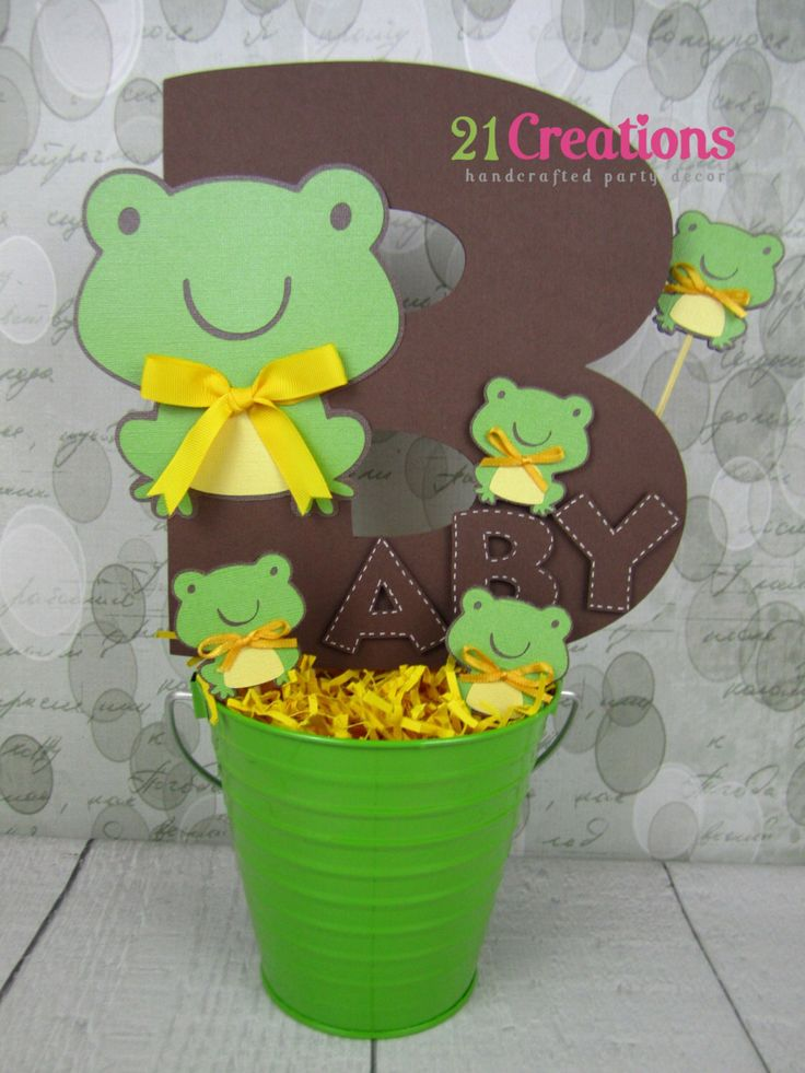 Frog Baby Shower Centerpiece by 21Creations on Etsy https://www.etsy.com/listing/178242857/frog-baby-shower-centerpiece