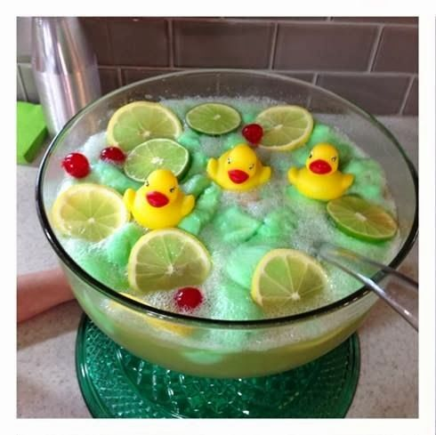 Make this adorable green lime sherbet punch for a baby shower! Add some rubber duckies to float on top to make it super cute!