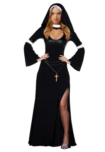Amour- Sexy Nun Women Adult Costume Long Gown Dress Halloween Fancy Party Carnival Amour http://www.amazon.com/dp/B00A1HT0ZS/ref=cm_sw_r_pi_dp_ntMhub0QRM2KG