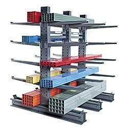 """JARKE Steeltree Heavy-Industrial Grade Cantilever Racks by Steeltree. $123.00. JARKE Steeltree Heavy-Industrial Grade Cantilever Racks let you easily store heavy lumber, tubing, and other industrial loads—up to 6000 lbs. per pair of arms without worry of sagging or collapse. Offers 2 """"3 times the capacity of our medium-duty racks. Rugged, steel bolted construction assures dependable service. Single and double tapered columns have patented internal stiffeners to provide..."""