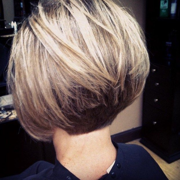 back view of short stacked bob haircut