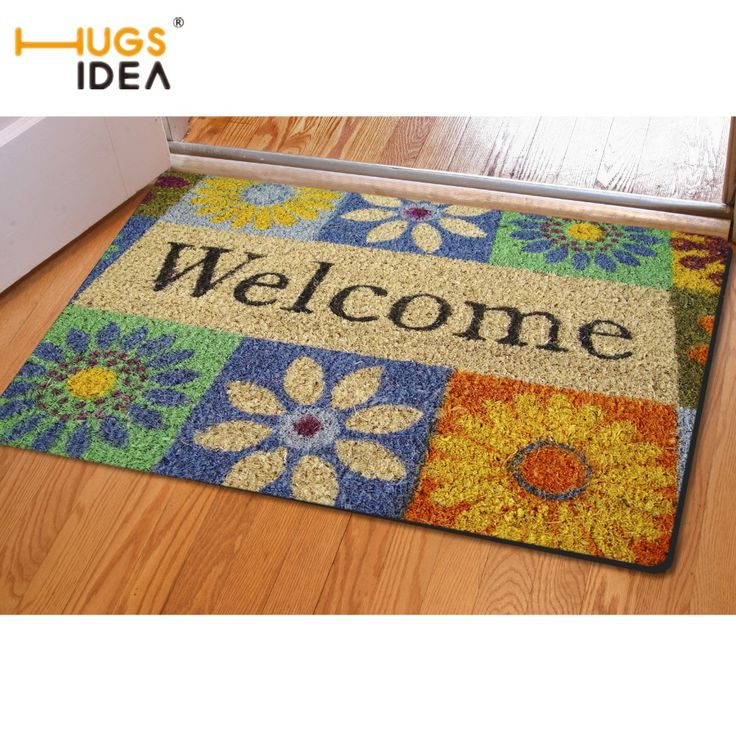 HUGSIDEA Soft Flannel Carpet for Living Room Bathroom Kitchen 3D Welcome Design Non-slip Area Rugs Entrance Door Floor Mat Tapis