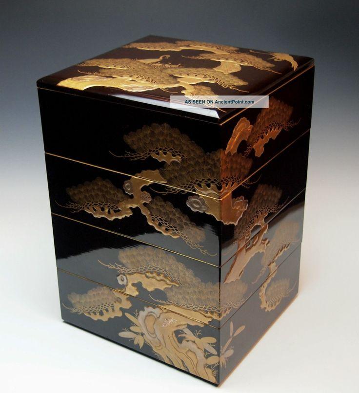 Exquisite Antique Japanese Lacquered Wood Jubako Edo Taka
