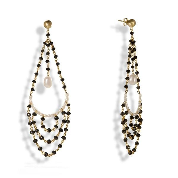 Handmade Gold Plated Silver Long Earrings With Brown Spinels and Pearls - Anthos Crafts - 1