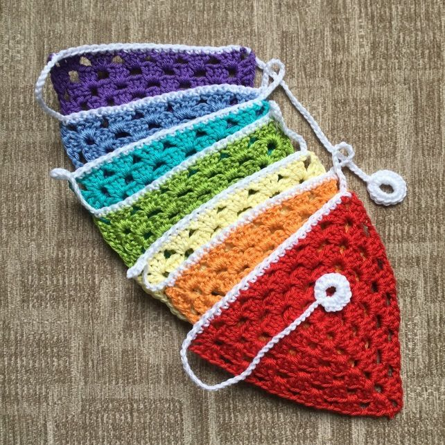 Crochet Bunting in the Colours of the Rainbow. £10.00