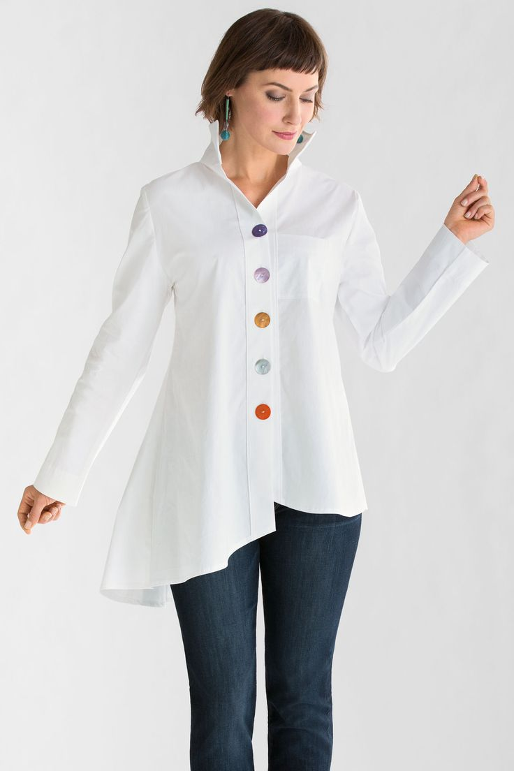 """Funky Buttons Shirt"" created by designer Vitamin. Everything you want in a great white shirt, with the surprise of multicolored buttons adding unique personality. #winter2014"