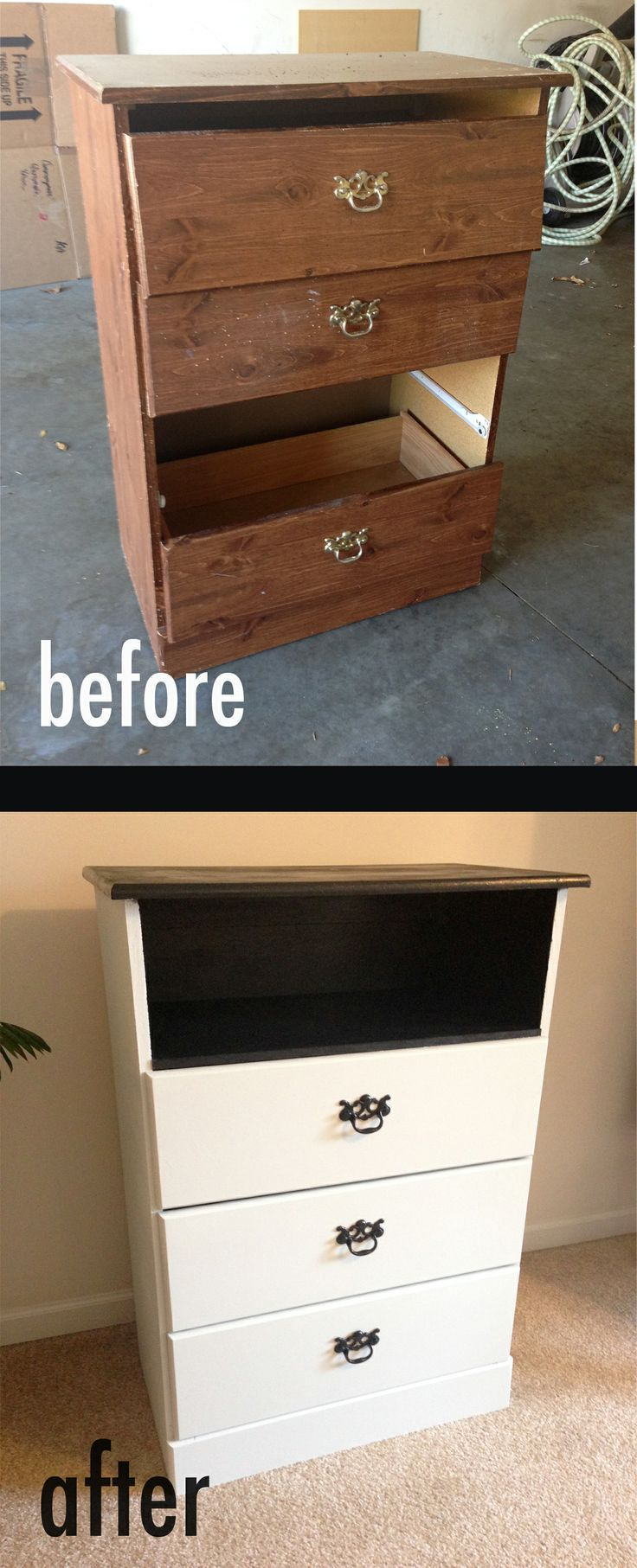 Broken dresser was missing a drawer. Replaced what should have been the drawer with a new shelf on top.