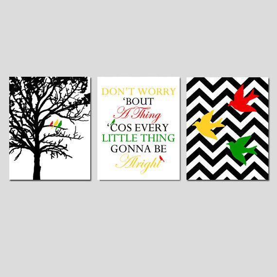 Bird Family Trio - Set of Three 8x10 Prints - Chevron Birds, Bob Marley Lyrics, Family Tree - Dont Worry Bout A Thing - Choose Your Colors
