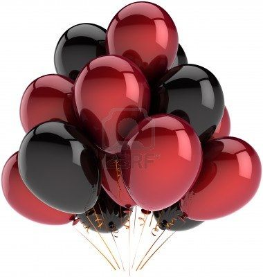 Party balloons decoration of birthday multicolor deep red and black. Fun happy joy abstract. Holiday festival celebration concept. Detailed 3D render. Isolated on white background Stock Photo