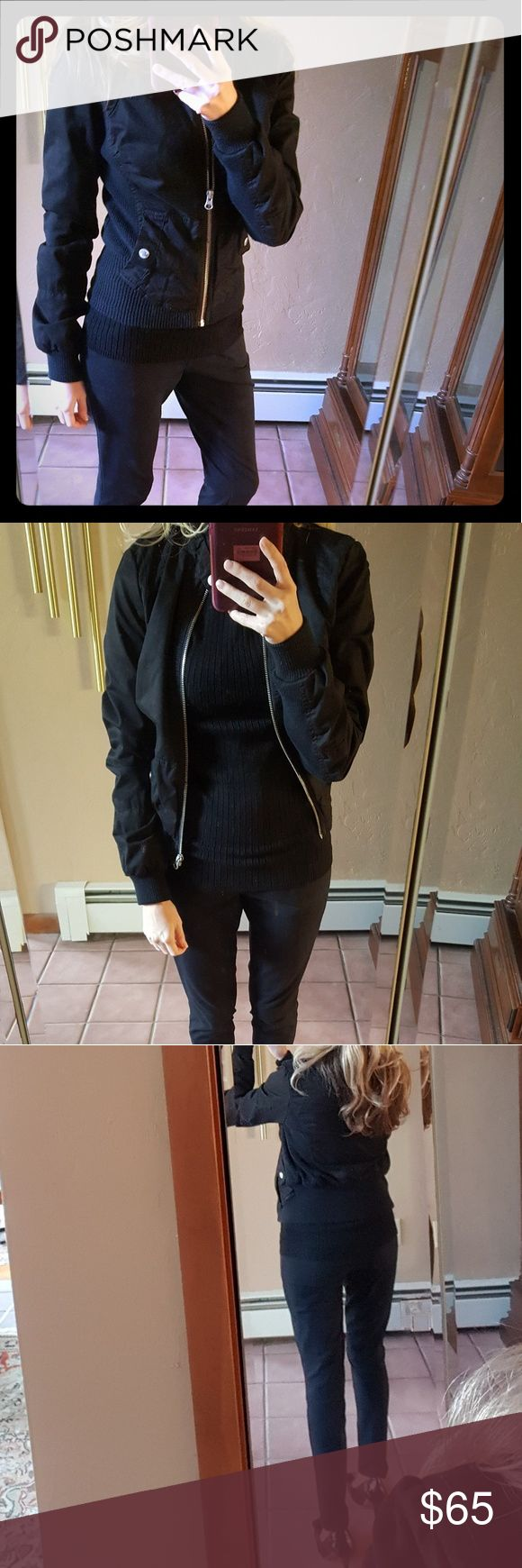 Guess Bomber Jacket Lightly worn. Sexy fitted bomber jacket. This jacket is so stylish & goes with everything. Looks great zipped up or you can leave open. Perfect for Fall/Spring weather with jeans or dressed up for work. Guess Jackets & Coats