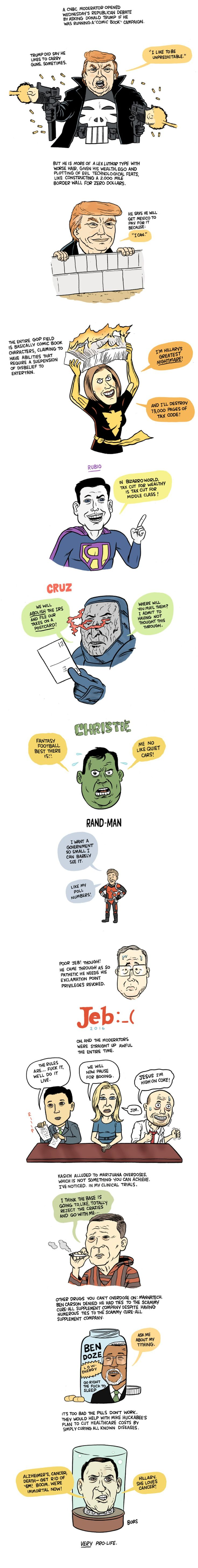 The Illustrated Guide to the 'Comic Book' GOP Debate | Rolling Stone