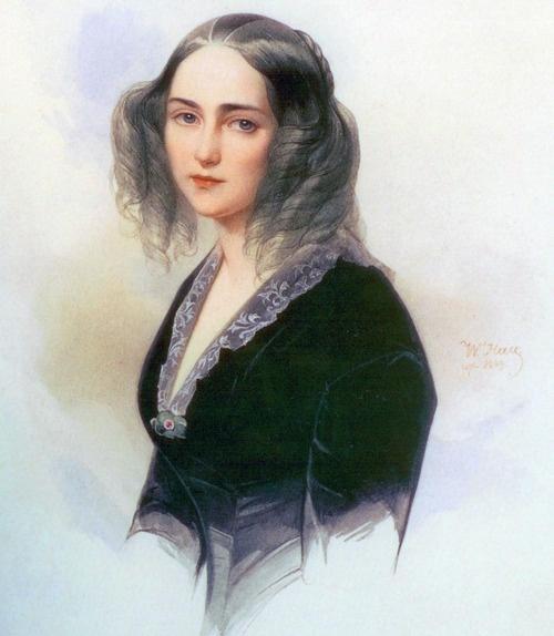 Vladimir Hau - Emilia Karlovna Musina-Pushkina wearing a dark dress, 1845