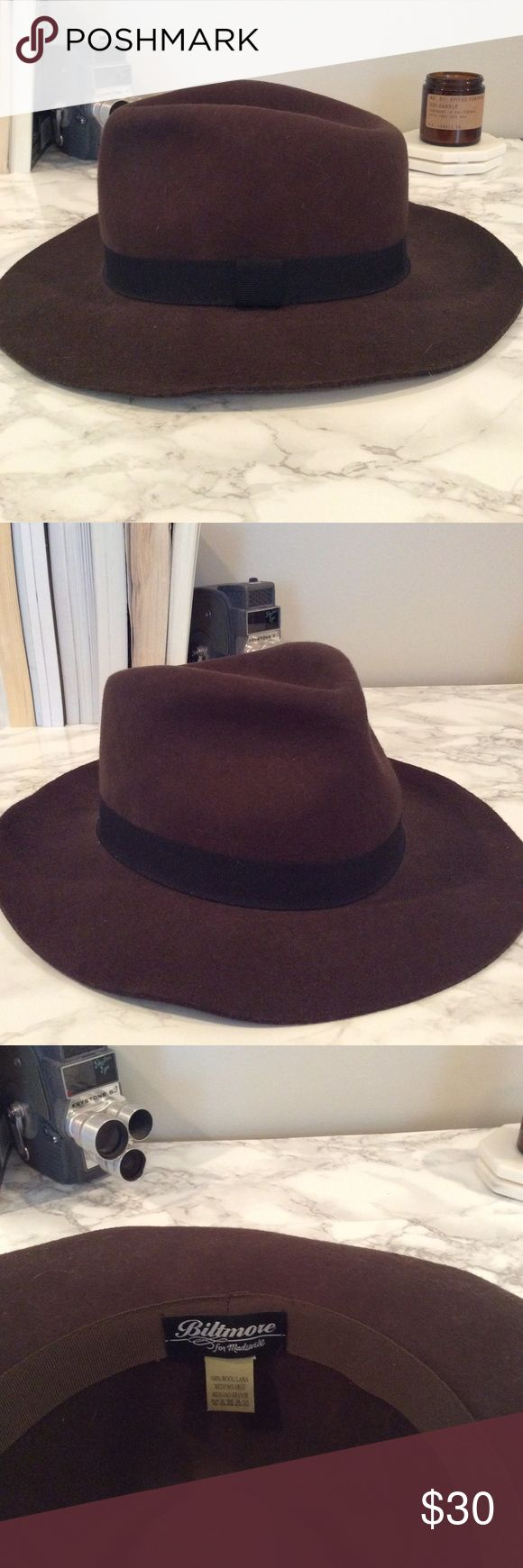 Madewell fedora Brown Madewell fedora. In collaboration with Biltmore hats. Never worn. Felt material, brown with black ribbon around base. Size medium/large. Madewell Accessories Hats