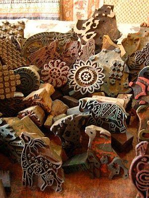 Hand carved wood blocks for block printing fabrics. Anokhi Museum of Hand Printing, Jaipur, India.