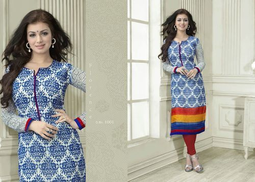 "Designer Wear Printed Georgette Kurti with American Crepe lining in Light Blue color. Length: 45"" and Size: L, XL."