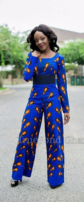 This jumpsuit is made from the peacock print fabric in vibrant blue and orange wax print. The style features a black lace fabric waistband. It has a lined torso with a zipper closure in the back. African jumpsuit, Ankara jumpsuit, African print jumpsuit, African romper.  Ankara   Dutch wax   Kente   Kitenge   Dashiki   African print dress   African fashion   African women dresses   African prints   Nigerian style  (affiliate)