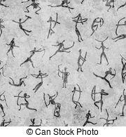Pinturas rupestres com pessoas étnicas, padrão sem costura
