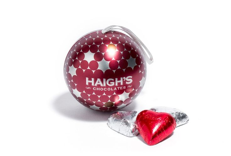 Red and Silver Bauble Tin - Eight foiled small solid milk chocolate hearts in a red bauble tin. Great #Christmas Tree decoration! #premium #haighsonline