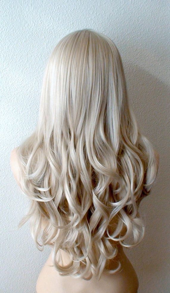 Silver Blonde wig. Long curly hairstyle quality wig by kekeshop