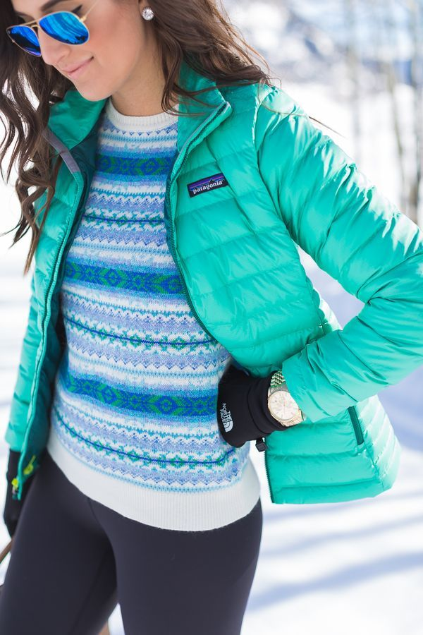 patagonia packable down sweater jacket, winter style, fair isle sweater, crested butte colorado, the north face e-tip gloves, sorel boots